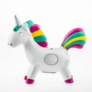 Rainbow Unicorn Ceramic Bank with Engraving Plate