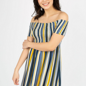 Smocked Off the Shoulder Striped Dress