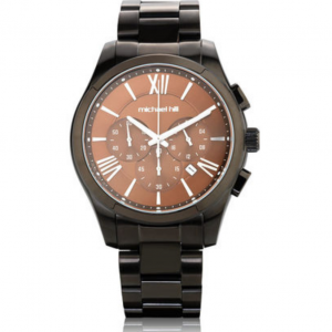 Men's Chronograph Watch in Grey & Brown Tone Stainless Steel