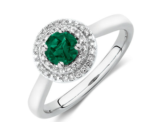 Ring with Created Emerald and Diamonds