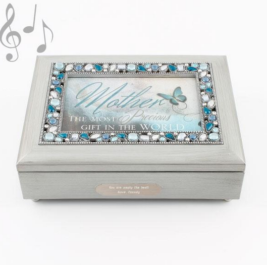 Mother Silver Jeweled Music Box
