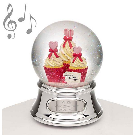 Musical Water Globe Mom and Cupcakes