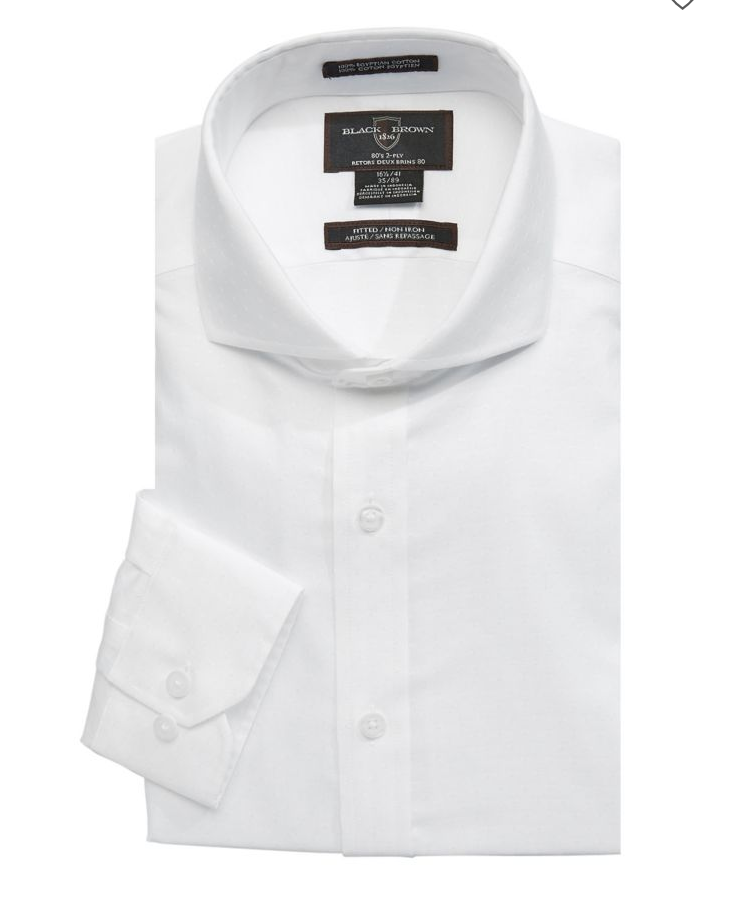Black Brown 1826 Classic White Dress Shirt