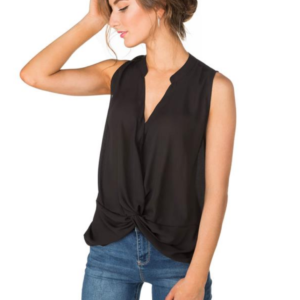 Sleeveless Blouse with Knotted Hem