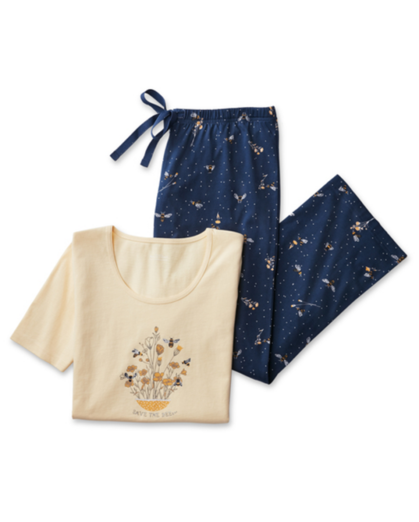 Bee Print Cropped PJ Set