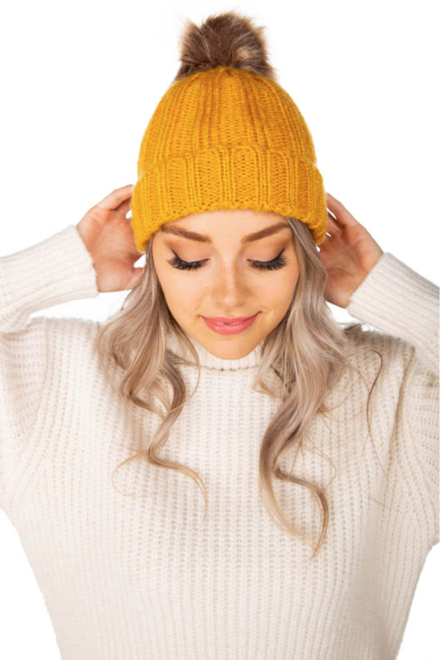 Ribbed Knit Hat with Faux Fur Pom
