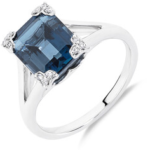 Michael Hill Ring with Diamonds and Blue Topaz in Sterling Silver