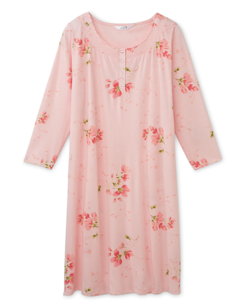 Printed Nightshirt with Smocked Neckline