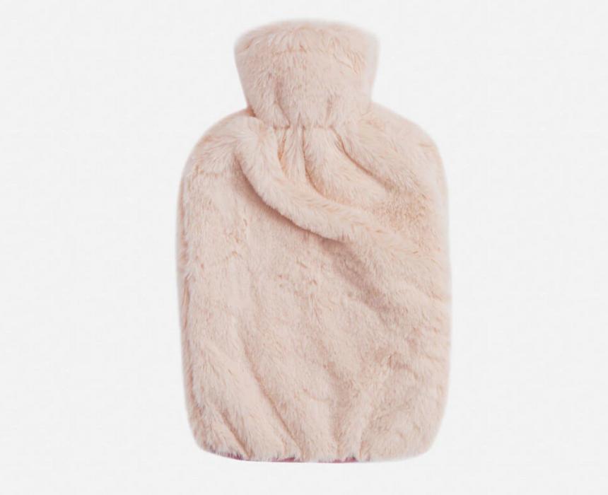 Faux Rabbit Plush Hot Water Bottle in Blush
