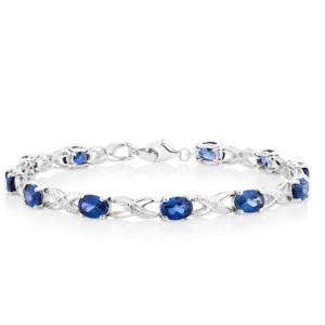Bracelet with Created Sapphires & Diamonds