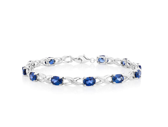 Bracelet with Created Sapphires & Diamonds