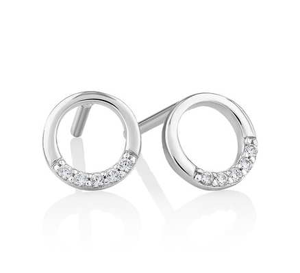 Open Circle Stud Earrings with Cubic Zirconia in SS