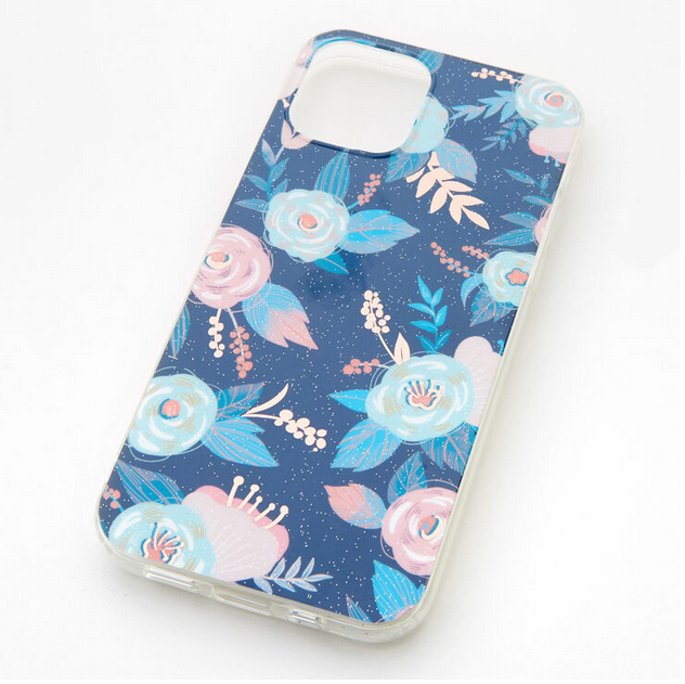 Blue Floral Protective Phone Case fits iPhone 12