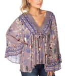 Eclipse Floral Boho Top with Crochet Detail and Bell Sleeves