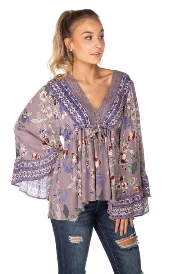 Floral Boho Top with Crochet Detail and Bell Sleeves