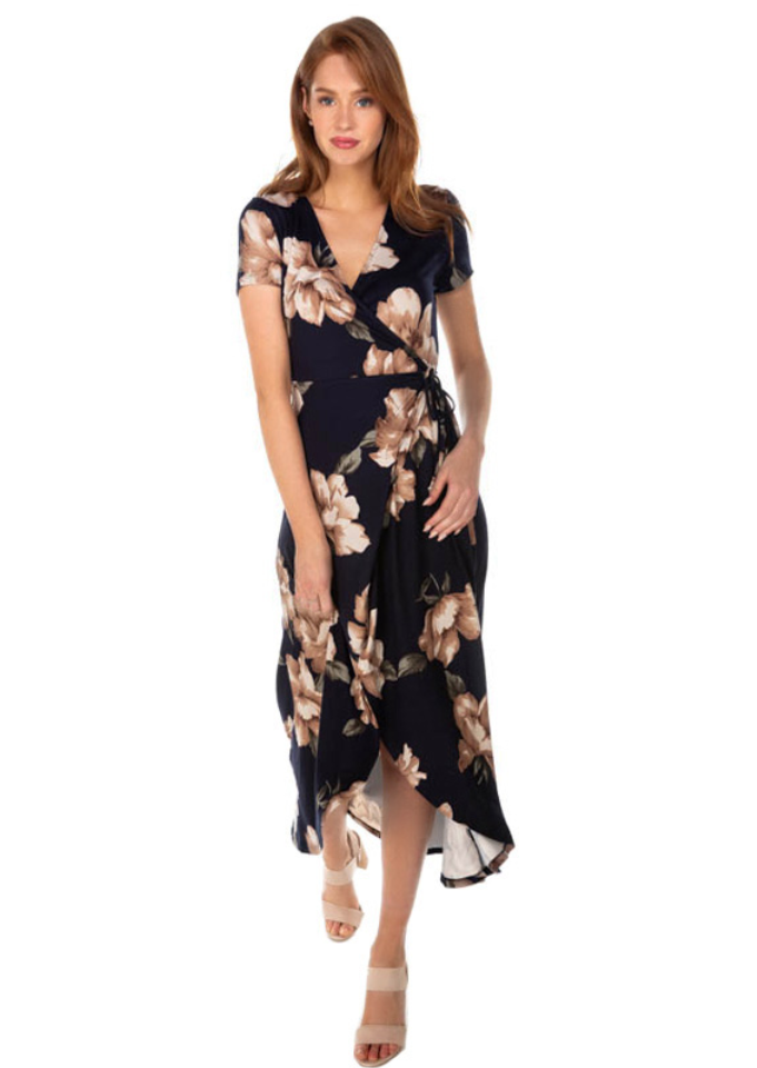Floral Brushed Cap Sleeve Crossover Dress