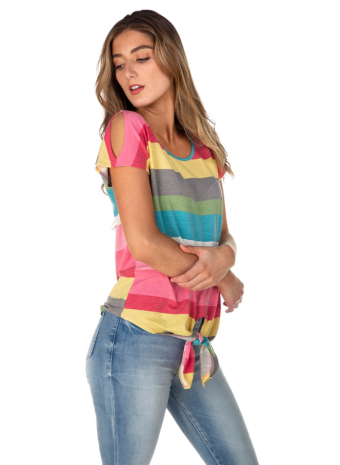 Rainbow Stripe French Terry Cold Shoulder Tie-Front Top