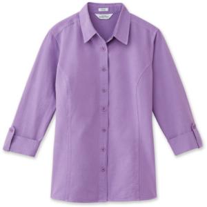 Petite 3:4 Sleeve Garment Dye Shirt