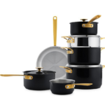 The Bay Chuck Hughes Black Crab Stainless Steel 11-Piece Cookware Set