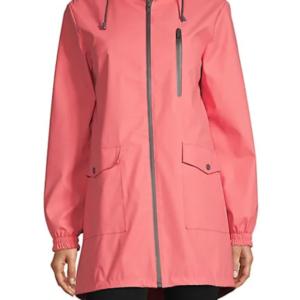 London Fog High-Low Hooded Raincoat
