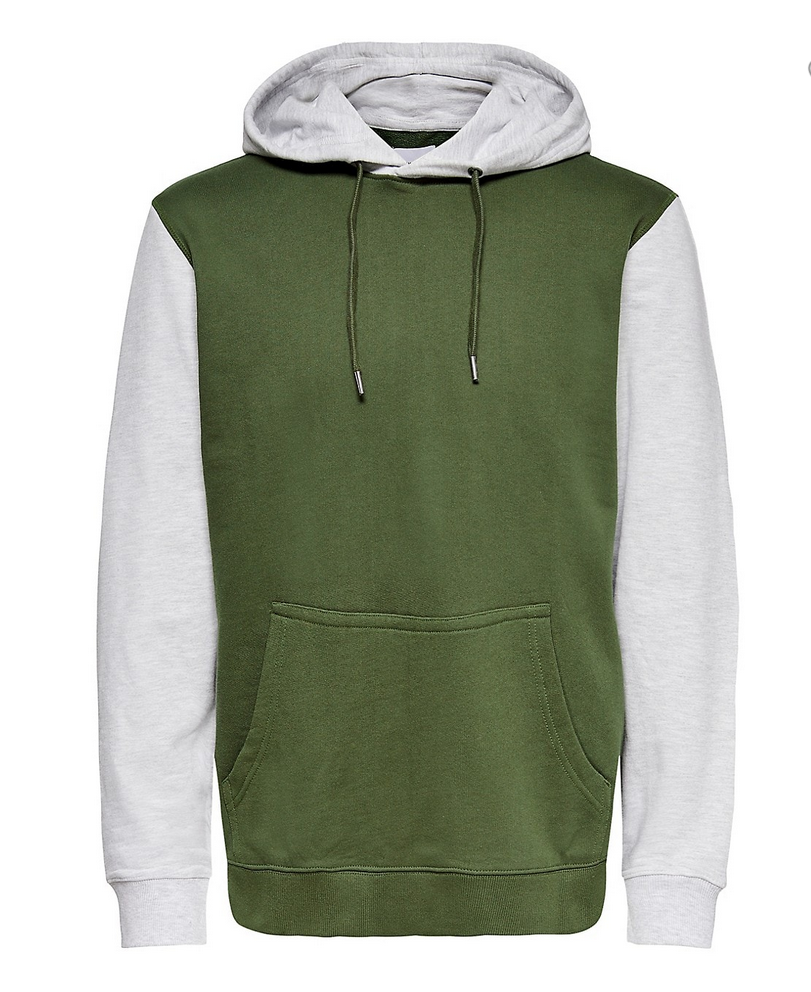 Only & Sons Cotton-Blend Colourblock Hoodie