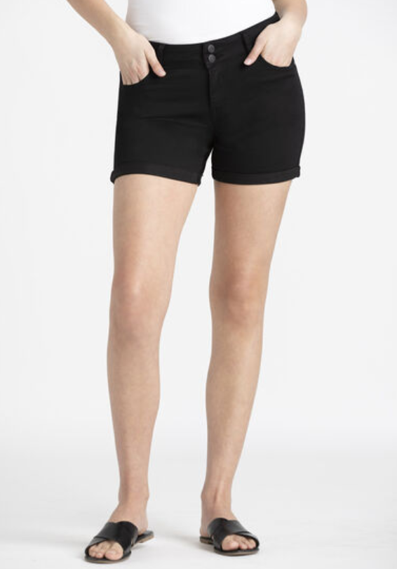 2 Button Black Cuffed Midi Short