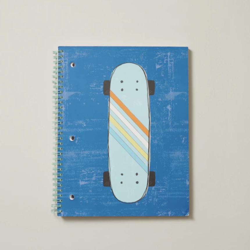 Spiral Notebook, Blue Skateboard