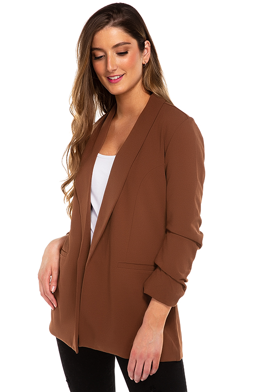 Blazer with Ruched Sleeves