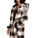 Eclipse Cream and Brown Brushed Plaid Hooded Jacket