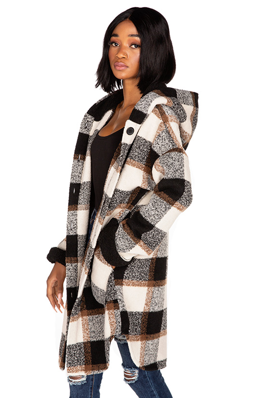 Cream and Brown Brushed Plaid Hooded Jacket