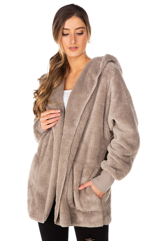 Faux Fur Cardigan with Hood
