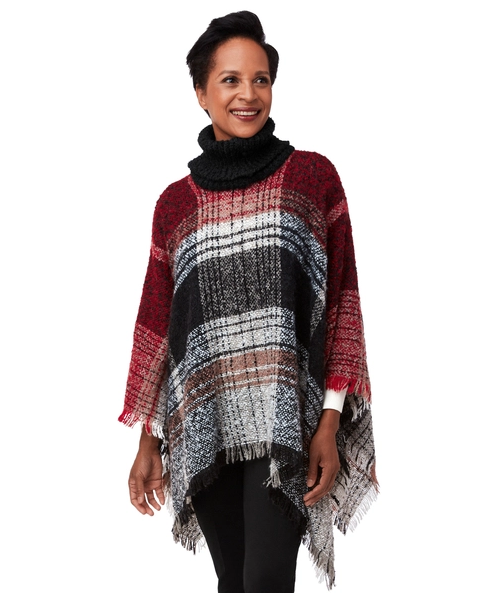 Knit Poncho-Red