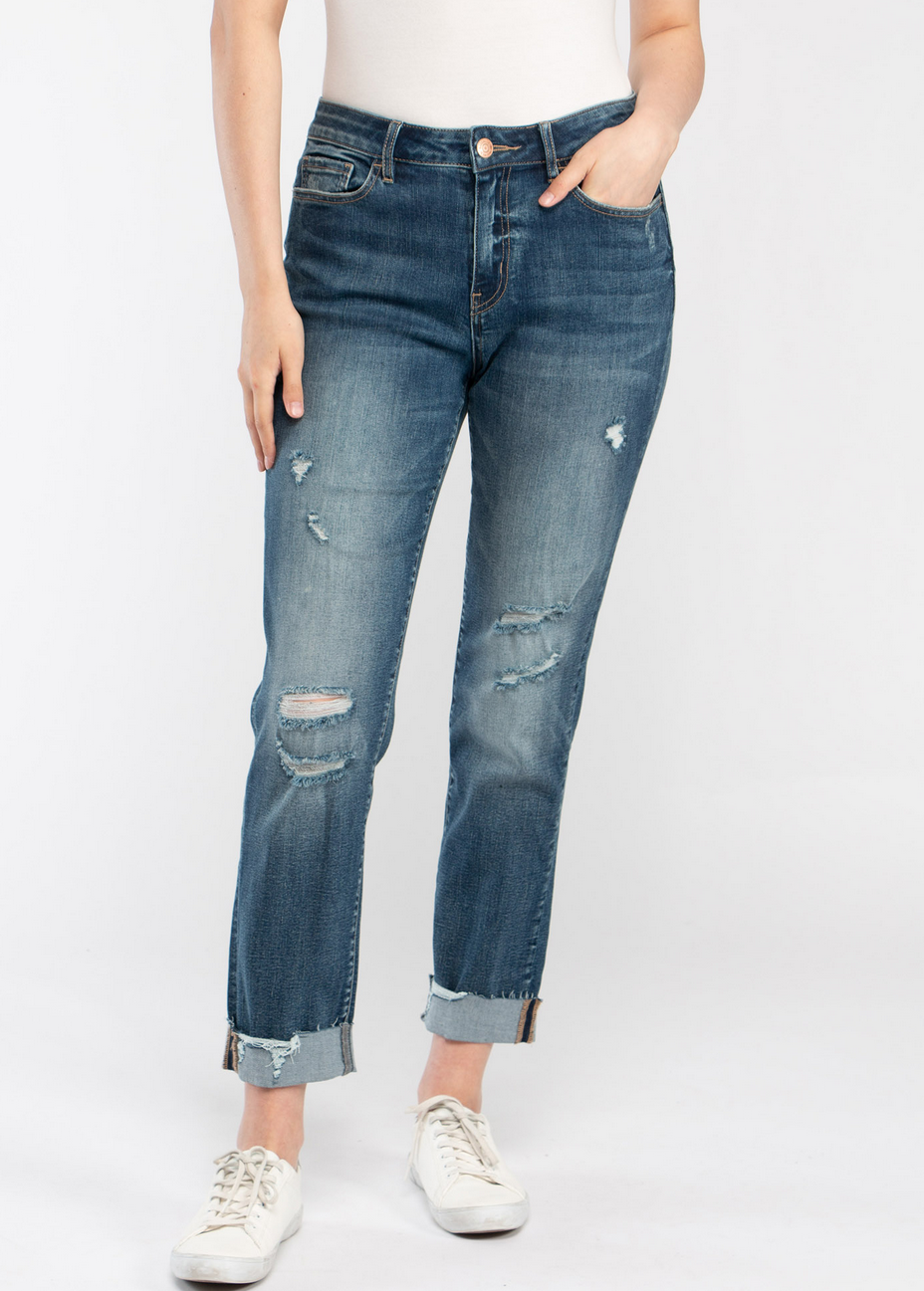 Destroyed Cuffed Girlfriend Jeans